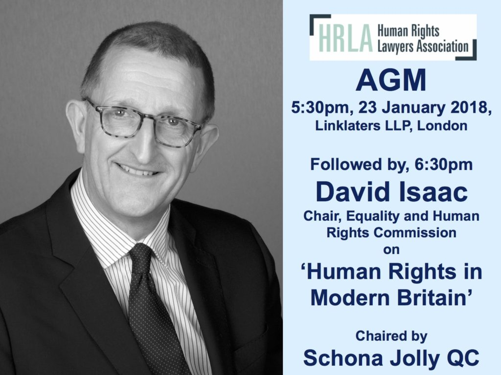 HRLA Annual General Meeting and Lecture by David Isaac, EHRC @ Linklaters LLP